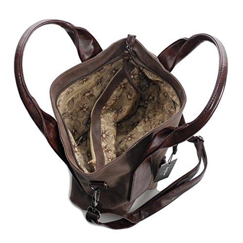 Jennifer Jones bella alla moda elegante Donna Borsa A Tracolla borsa a tracolla - präsentiert di ZMOKA - grigio marrone