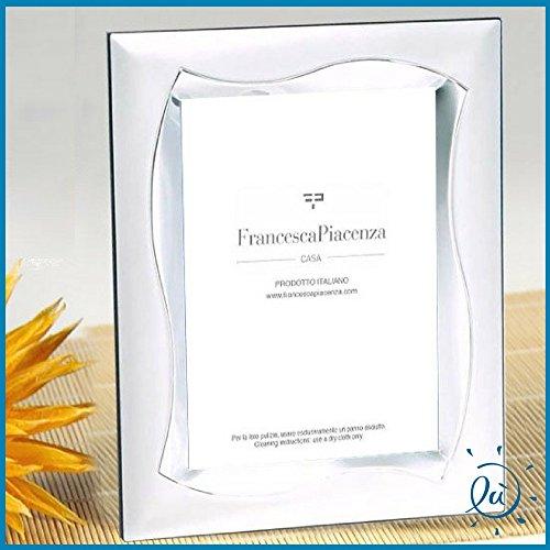 Albalù italia | idee regalo e bomboniere portafoto in argento laminato con retro in velluto misura interna 10x15 cm - esterna 16x21 cm