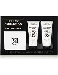 Kit d'entretien pour visage et barbe de trois jours par Percy Nobleman, un coffret cadeau de soin du visage, pour homme. Une crème hydratante, un nettoyant et un carré de toilette
