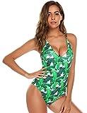 kigins Damen Badeanzug Bauchweg Bikini Einteiler Blumen Drucken Rückenfrei V-Ausschnitt Monokini Bademode