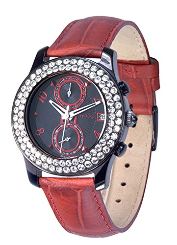 Moog Paris Heritage Women's Watch with Black & Red Dial, Red Genuine Leather Strap & Swarovski Elements - M45552-005