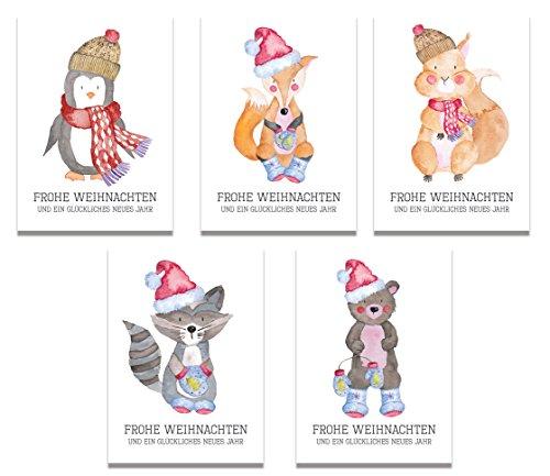 Weihnachtskarten Weihnachtskarten-Set (50 St.) Frohe Weihnachten ...
