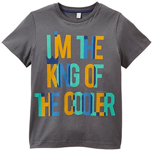 ESPRIT Jungen T-Shirt mit Schriftzug, mit Print, Gr. 104 (Herstellergröße: 104/110), Grau (BIRD GREY 034)
