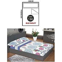 """ADP Home - Juego de sábanas 3 piezas """"blue paisley"""" (funda de almohada, bajera ajustable y sábana encimera), cama de 150 cm"""