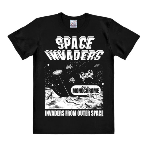 Logoshirt Herren Freizeithemd Invaders-from Outer Space, Schwarz, X-Large