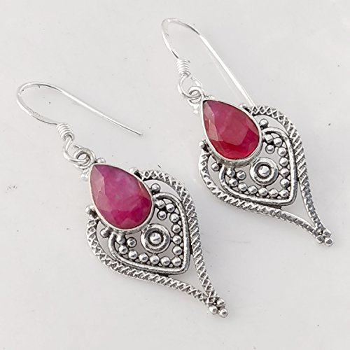 Red Ruby Royal Solid 925 Sterling Silber Ohrringe Handgemachter Schmuck, Silver Earrings for Womens Gift Royal Ruby