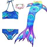 Coda da Sirena Cosplay Costumi da bagno Mermaid Shell costume da bagno 3pcs insiemi del bikini (120(4-5Y), Peacock)