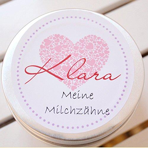 Zahndose Milchzahndose für Mädchen Baby- Geschenk mit Namen personalisiert/Taufgeschenk
