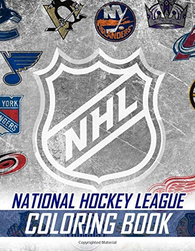 NHL National Hockey League Coloring Book: 38 Illustrations (Team Logos and Famous Players)