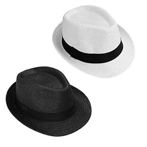 Faletony Herren Damen Panamahut Sonnenhut Sommerhut Beach Hut Strohhut Jazz Hut (Schwarz+Weiß, 2 STK.) -