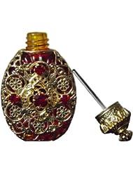 Flakon 7ml Ruby Rot und filigraner Golddeko mit Dosierstab