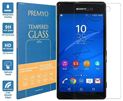 PREMYO Panzerglas Schutzglas Bildschirmschutzfolie Folie kompatibel für Sony Xperia M5 Blasenfrei HD-Klar 9H 2,5D Gegen Kratzer Fingerabdrücke