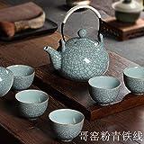 mqlerry Kaffeekanne Keramik Teekanne Celadon Teekanne, Beam Pot, Tee-Set, Krug, Hochtemperatur-Teekanne, E