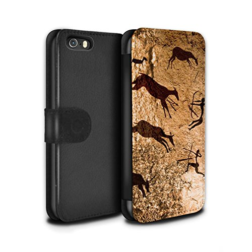 Stuff4 Coque/Etui/Housse Cuir PU Case/Cover pour Apple iPhone 5/5S / Pack 5pcs Design / Peinture Rupestre Collection Chasseurs/Marron