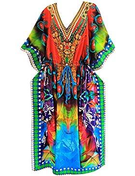 La Leela abito bikini lungo caftano donne beachwear kimono coprire costume da bagno multicolore