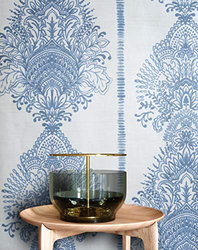 NEWROOM Tapete Barock Ornament Prunk blau Vliestapete beige Vlies moderne Mustertapete Tapete Barocktapete Wohnzimmer Glamour inkl. Tapezier Ratgeber - Royal Blau-tapeten