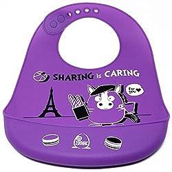 Little Zodiac Waterproof Silicone Baby Bib with Pocket (Purple)