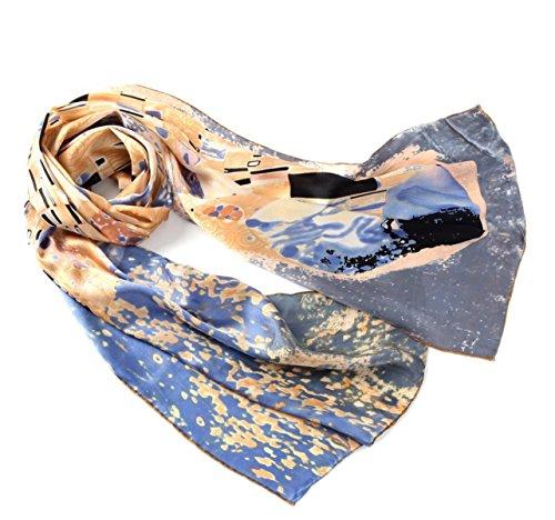 Prettystern P918-160cm Kunstdrucke 100% Seide Damen Langer Schal - Gustav Klimt - Kuss/Golden Graublau