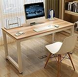 GOTOTOP Modernes Stahl Gestell Computer Schreibtisch, Holz PC Laptop Schreibtisch Studie Schreibtisch Workstation Home Büro Tisch Sandal Wood