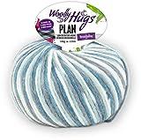 Woolly Hugs Plan Fb. 83, 100g Merinowolle extrafein mit Baumwolle zum Stricken und Häkeln, geeigent für planned pooling Technik