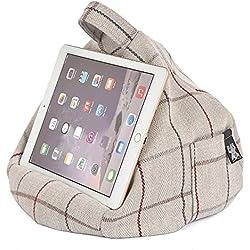 iPad Tablet y libro electrónico de almohada con función de atril con cojín - gris a cuadros - apto para todos los tablets! 100% una mayor comodidad y cualquier ángulo para asegurar la estabilidad. Evita que iPad RSI