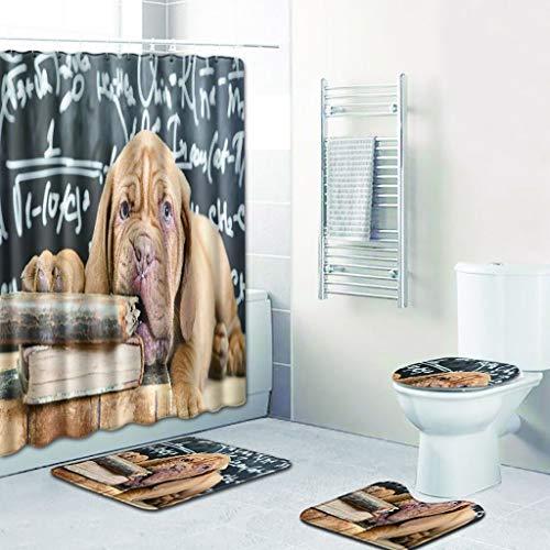 VENMO Home Badematten Set,Abdeckmatte Set Bad Duschvorhang Haustier Hund Muster(Bad Teppich + Pedestal Toilettensitzabdeckung),Badematte Im 4-Er Set,Fussmatte Duschmatte Badezimmermatte Badvorleger