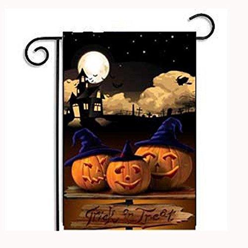 JIANGFU Halloween-Garten-Flagge,Heiße neue kundenspezifische Kürbis-Halloween-wetterfeste Dekoration-Garten-Markierungsfahne 12x18 (Abstand Kostüme Halloween Erwachsenen)