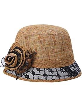 AIEOE Sombrero de Pescador de Mujeres Gorro Protección Solar Lino Encajes con Flor Vintage Retro Elegante, Rojo