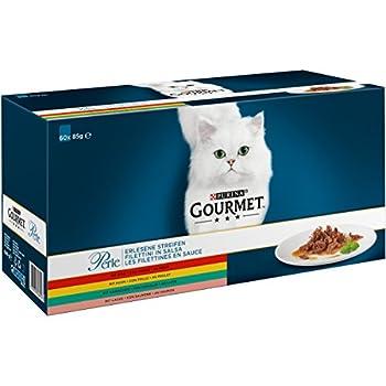 Gourmet Purina Filet au Poulet, B½uf, Saumon et Lapin, Nourriture pour Chats de Haute qualité (Sachets Portion 60x 85g)
