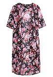 Dame-Blumen öffnen Cape beiläufige Mantel lose Bluse Kimono Jacke Cardigan (one size, A)