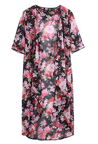 Dame-Blumen öffnen Cape beiläufige Mantel lose Bluse Kimono Jacke Cardigan (One Size, A) -