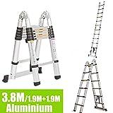 DIY Ausziehleiter 3,8 m /1,9m + 1,9m Teleskop Tragbare 12,5 Füße 150 kg Tragkraft Aluminium UK Schiff