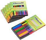 Betzold 12040 - Wachsmalkreiden-Set Kinder, 6 x 12 St�ck, Wachs-Malkreide je 12 Farben pro Set Dreikant-Plastikwachsmaler zum Spitzen - Kunst Malen Wachsmalstifte