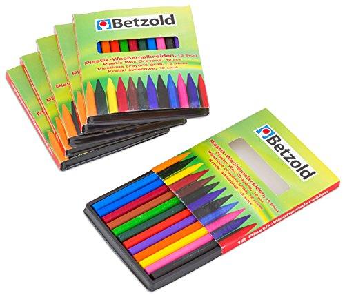 Betzold 12040 - Wachsmalkreiden-Set Kinder, 6 x 12 Stück, Wachs-Malkreide je 12 Farben pro Set Dreikant-Plastikwachsmaler zum Spitzen - Kunst Malen Wachsmalstifte -