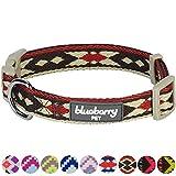 Blueberry Pet Tribal Ethno Druck Dunkel-Taupe Geflochtenes Hundehalsband, Hals 37cm-50cm, M, Verstellbare Halsbänder für Hunde