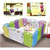 Parque Infantil Bebe Baby Playpen - Centro de actividades para niños, juego de seguridad en el patio, interior y exterior, con 14 paneles, bolígrafo (PLP-WL080-014)