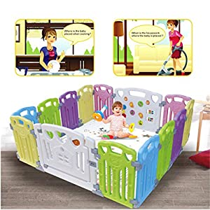 Baby Playpen Kids Activity Centre Safety Play Yard Home Indoor Outdoor New Pen (Multicolour, Classic Set 14 Panel) (Multicolour 14 Panel)   9