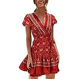 wave166 Vestido, Mujer Vestido Corto de Fiesta Elegante Imprimir Estrella Mini Vestidos Playa Manga Corta Sexy del Verano de Mujeres