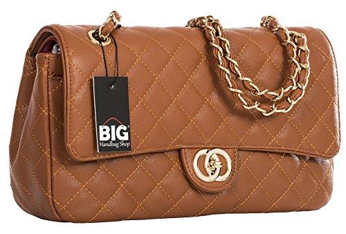 Big Handbag Shop Donna Twist Lock-Borsa a tracolla trapuntata Tan - Round Clasp (Design 2)