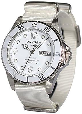 Oxygen EX-D-WHI-40-WH - Reloj analógico de cuarzo unisex, correa de nailon color blanco (agujas luminiscentes) de Oxygen