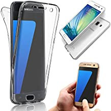 Vandot Samsung Galaxy S6 Edge| Funda Carcasa Protectora 360 Grados | TPU en Transparente | Full Body Protección Completa Doble Tapa Delantera + Trasera Silicona Gel Smart Case Cover para Smartphone Móvil Samsung Galaxy S6 Edge SM-G925 - Blanco