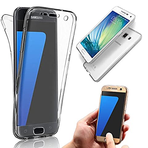 Vandot Samsung Galaxy A7 (2015 Version) Coque de Protection Etui Transparent Antidérapant Pour Samsung Galaxy A7 (2015 Version) Etui Protection Dorsale Étui Slim Invisible Housse Cover Case en TPU Gel Silicone Hull Shell-Blanc