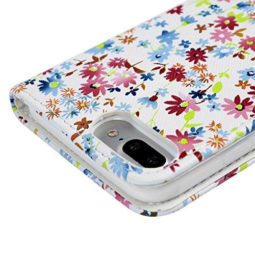 iPhone 7 Hülle, Yokata PU Leder Flip Vintage Farbig Blumen Case Motiv Weich TPU Silikon Backcover mit Credit Card Slots Brieftasche Tasche + 1 x Kapazitive Feder Weiß
