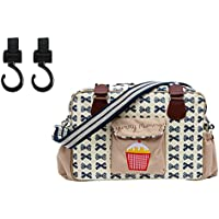 Yummy Mummy Stylish Nursery Changing Bag - Colour Navy Bows - Includes Travel Changing Mat Cupcake Design Plus 1 Pack Of Happy Mummy Hook n Stroll Pram Clips