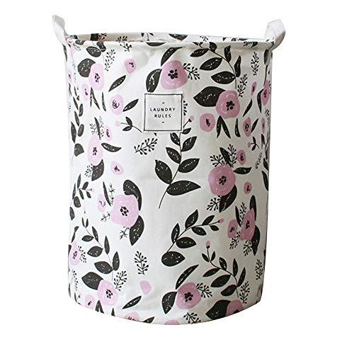 Demarkt Großer Wäschekorb mit strapazierfähigem Griff rund Baumwolle Leinen Faltbarer Aufbewahrungskorb Lila Blume 35 * 35 * 45cm