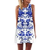 MRULIC Frauen Lose Sommer Weinlese Blumendruck Kurzschluss 3D Bild Minikleid Gerades Kleid mit Schmetterlinge Muster (EU-46/CN-2XL, H-Weiß)