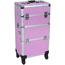 Songmics® Maletín para maquillaje Estuche de maquillaje Trolley Valise rosa JHZ05P