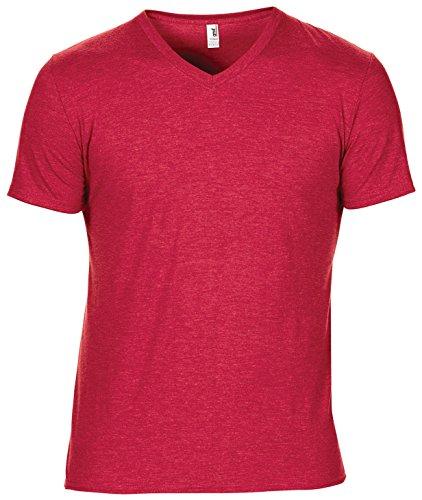 Anvil-Incudine da donna tri-blend-Maglietta con scollo a v Rosso melange