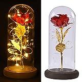 Aesy Lámina de Oro 24K Flor de Rosa Artificial Y Cadena de Luz LED En la Cúpula de Cristal sobre Base de Madera, Hombres, Mujeres (Batería no Incluida)