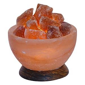 HIMALAYA SALT DREAMS 4041678001605 Beleuchtete Salzkristallschale rund, circa 2,00 kg inklusiv Elektrik und Leuchtmittel